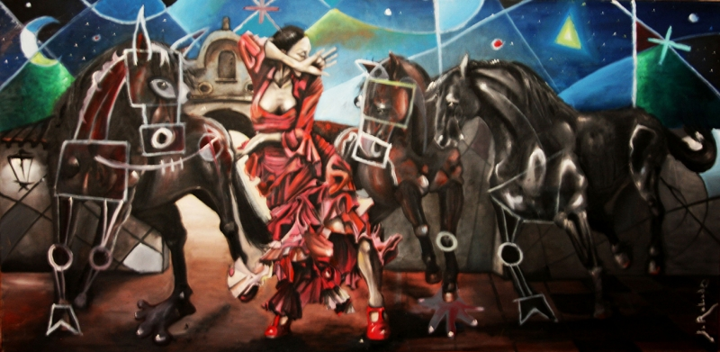 Bailando con caballos de Javier Blanco Artista Contemporáneo España