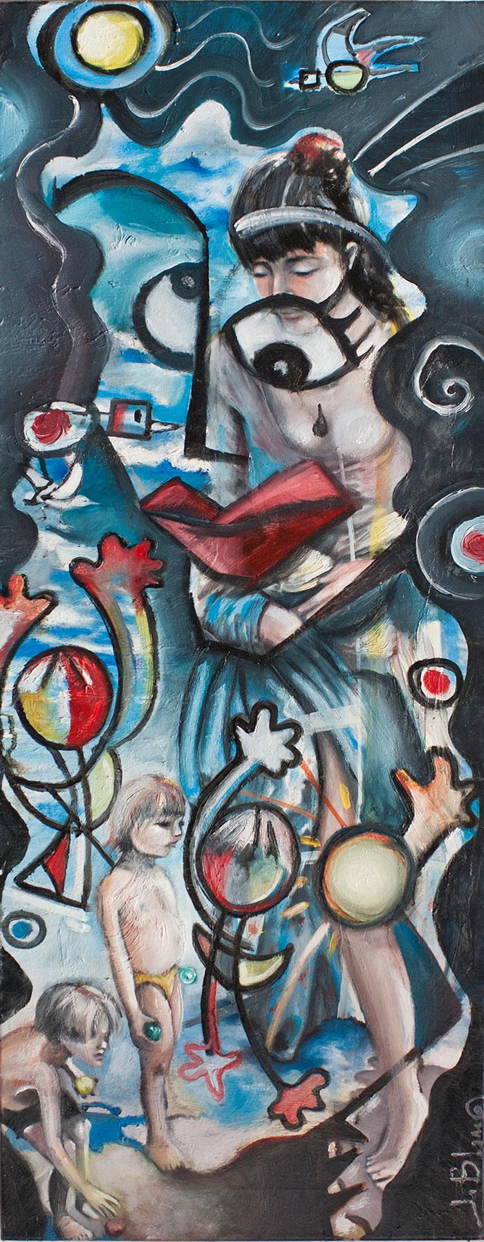 'Niños jugando a la pelota' de Javier BLanco. Artista Contemporáneo. España