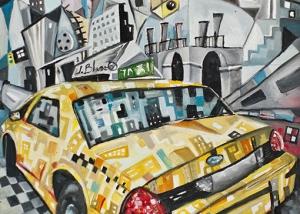 Taxi en Nueva York de Javier Blanco Artista Contemporáneo España