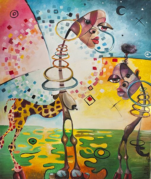 Mujeres jirafa de Javier Blanco Artista Contemporáneo España