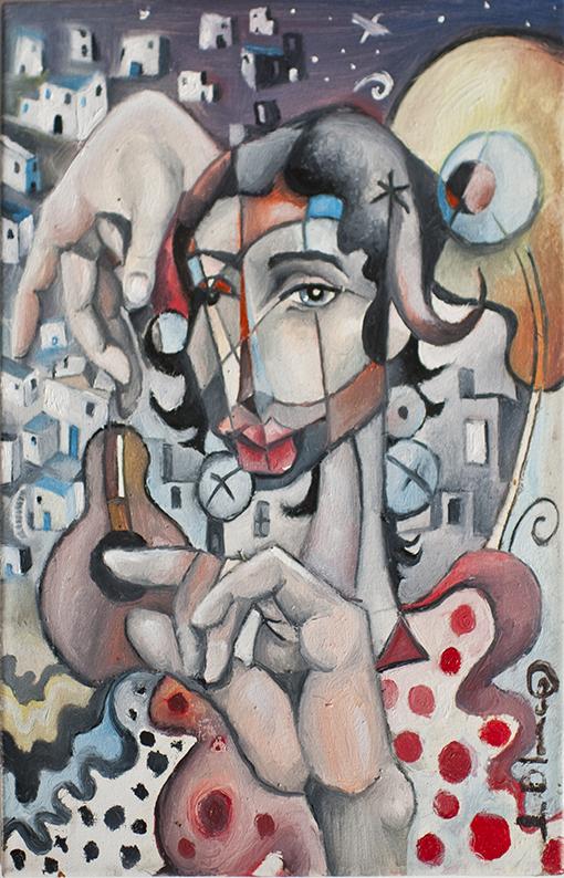 Mujer guitarra de Javier Blanco Artista Contemporáneo España